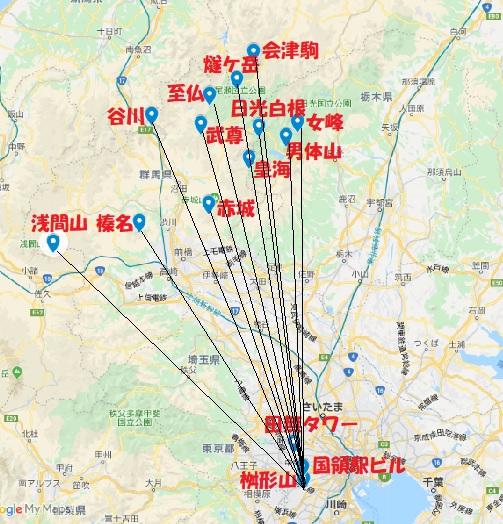 桝形山展望台からの北関東の山岳
