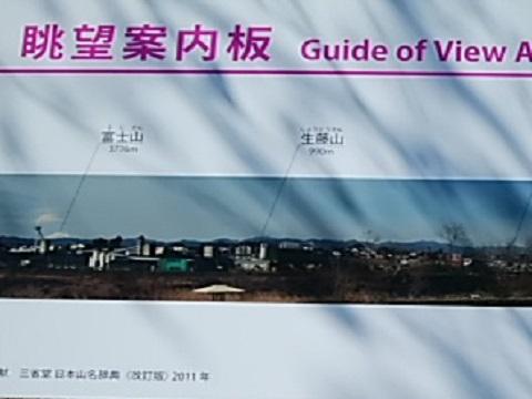 多摩川福生市眺望案内板富士山